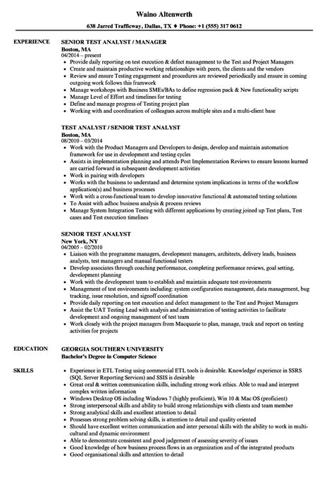 Senior Credit Analyst Resume by Senior Test Analyst Resume Sles Velvet