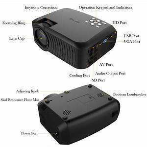 Dbpower T22 Lcd Mini Projector With 2400 Lumens Support