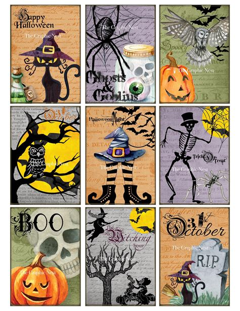 halloween atc graphic cards digital  graphic