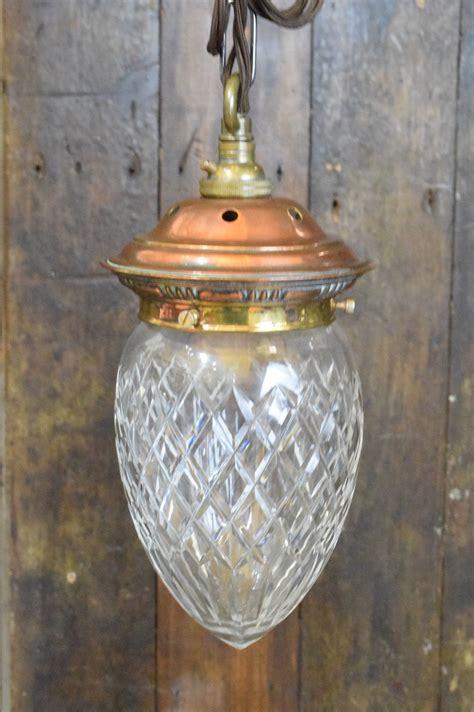 vintage cut glass acorn pendant light  detailed copper