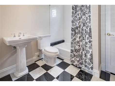 black and white bathroom checkerboard floor moorings