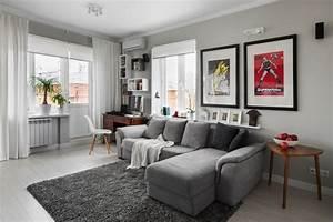 Vorhänge Weiß Grau : wohnzimmer in grau mit eckcouch im mittelpunkt 55 ideen ~ Watch28wear.com Haus und Dekorationen