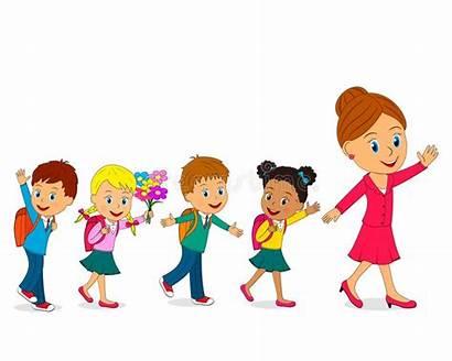 Teacher Bambini Going Insegnante Stanno Andando Scuola