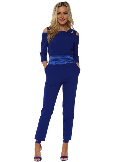 cobalt blue jumpsuit cobalt blue jumpsuit cold shoulder