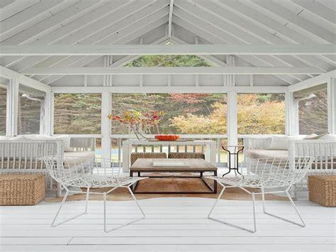 Sunroom White Truss Ceiling Plank Floor Wicker Sofajpg Ideas