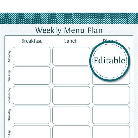 editable weekly meal planner weekly menu planner fillable printable pdf instant