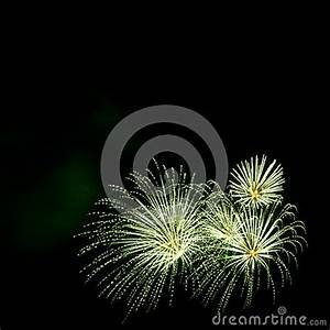Green Fireworks Border On The Black Sky Background With ...