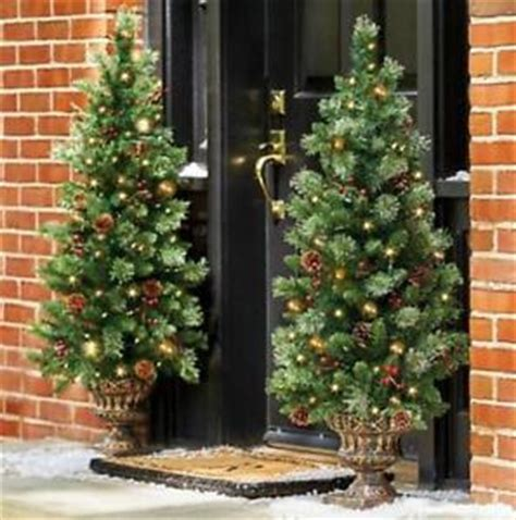 lighted pre lit cordless christmas porch tree topiary