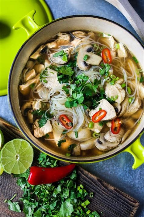 thai chicken noodle soup feasting  home