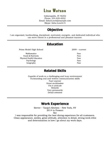 exle of a resume for a highschool student best resume