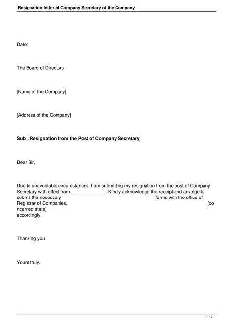 corporate secretary resignation letter templates