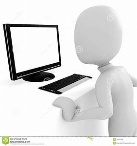 3d Man, Working At Computer Royalty Free Stock Image ...