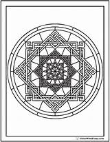 Coloring Geometric Pages Complex Circles Circle Pattern Square Circular Designs Oriental sketch template