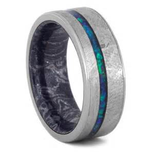 meteorite wedding ring crushed opal wedding band meteorite ring with mokume sleeve 3558