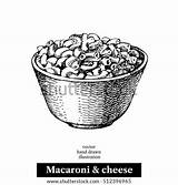Cheese Macaroni Homemade Sketch Vector Bowl Drawn Shutterstock Illustration Baked Object Isolated Menu sketch template