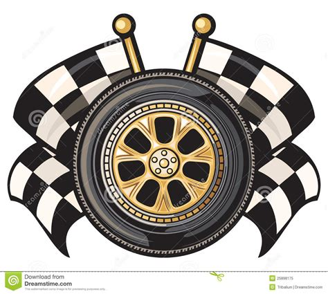 wheel   crossed checkered flags royalty  stock