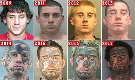 serial offender   face tattoos arrested  florida