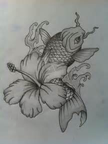 Flowers and Koi Fish Drawings