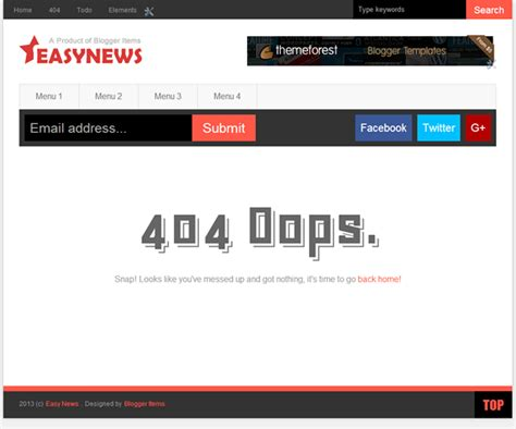 Custom 404 Page Template Free by Easy News Free Responsive Magazine Template