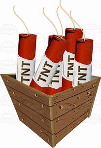 Red Sticks Of Tnt Dynamite In A Wooden Box Cartoon Clipart ...