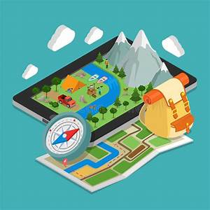 Flat 3d Isometric Mobile Gps Navigation Maps Conce Stock