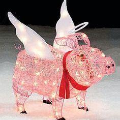 pink christmas pig outdoor decoration trim a home 174 28 lighted pig outdoor decoration
