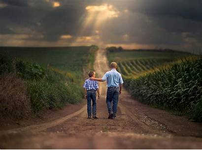 Father Son Farm Road Field Wallpapers Boys