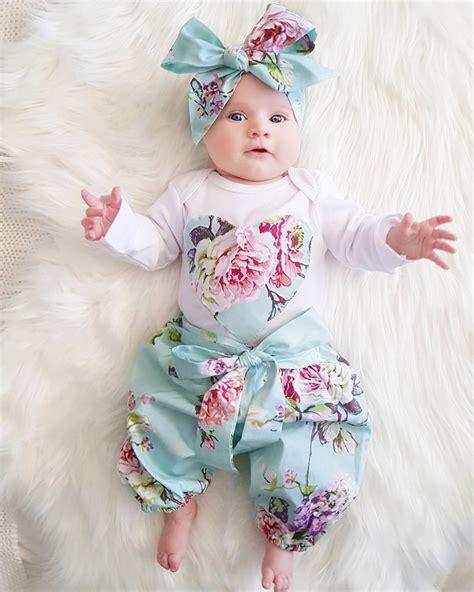 pcs newborn kid baby girl floral clothes jumpsuit romper