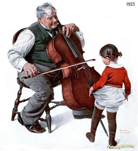 Cello Playing Old Man And A Little Girl Artwork By Norman