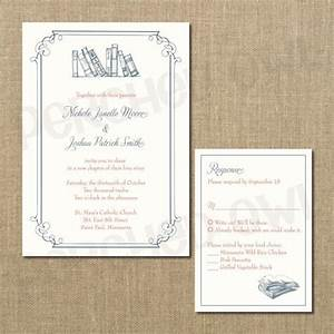 vintage library wedding invitation rsvp enclosure card With wedding invitation rsvp due date