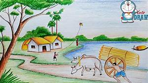 How To Draw Village Scenery    Landscape Step By Step