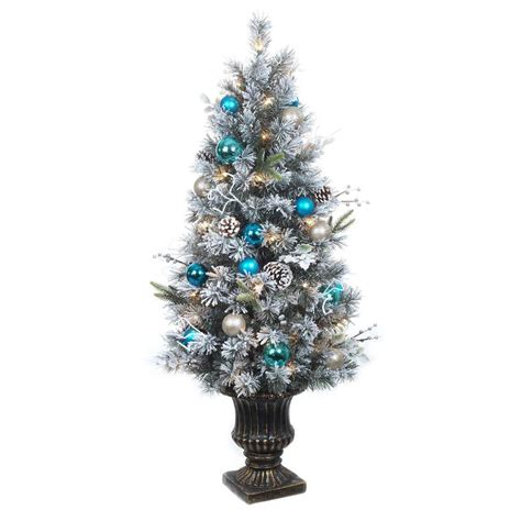 home accents holiday 4 ft pre lit flocked pine porch