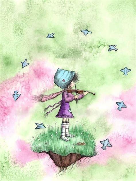 Like This Blue Bird Art Girl Playing Violin Bird Art Print