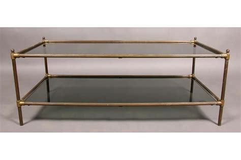 two tier glass coffee table modern 2 tier brass glass coffee table