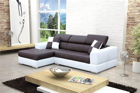 canapé cuir design canapé design d 39 angle madrid iv cuir pu noir et blanc