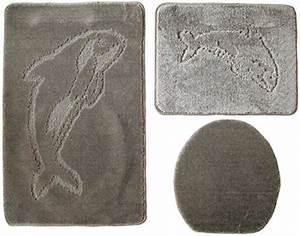 Badgarnitur 3 Teilig : 3 teilig badgarnitur grau badset delphin badematten badteppich h nge wc badezimmerheizk rper ~ Indierocktalk.com Haus und Dekorationen