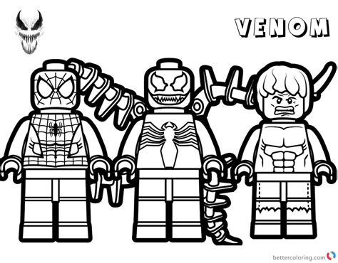 Lego Marvel Coloring Pages by Venom Coloring Pages Lego Venom Spider Marvel Heroes