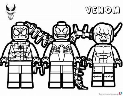Lego Coloring Venom Marvel Avengers Printable Superhero