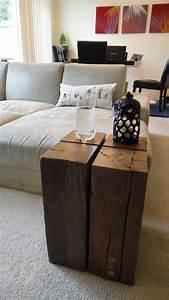 Reclaimed, Wood, Block, Side, Table, 230, 00, Via, Etsy
