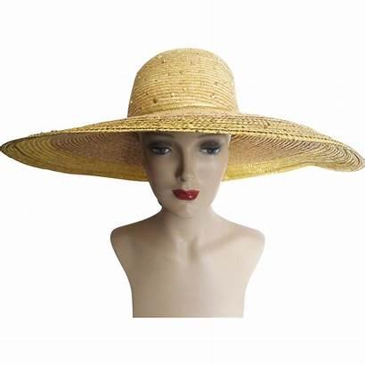 Hat 80s Straw 1980s Brim Wide Designer