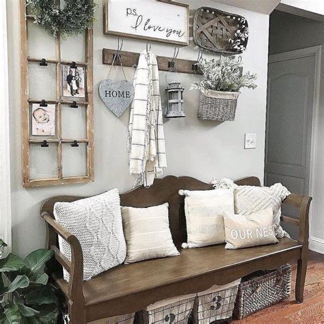The key to farmhouse living room is using neutral colors and organic materials. 40+ Farmhouse Shelving and Wall Decor Ideas - Sweet Home Living