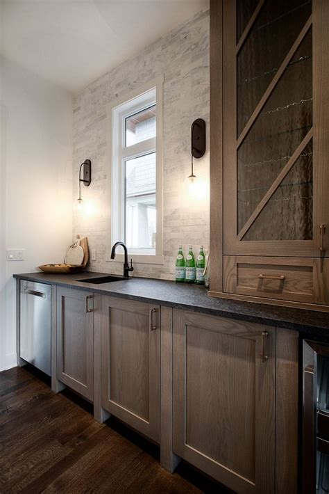 transitional custom home design oak kitchen cabinets
