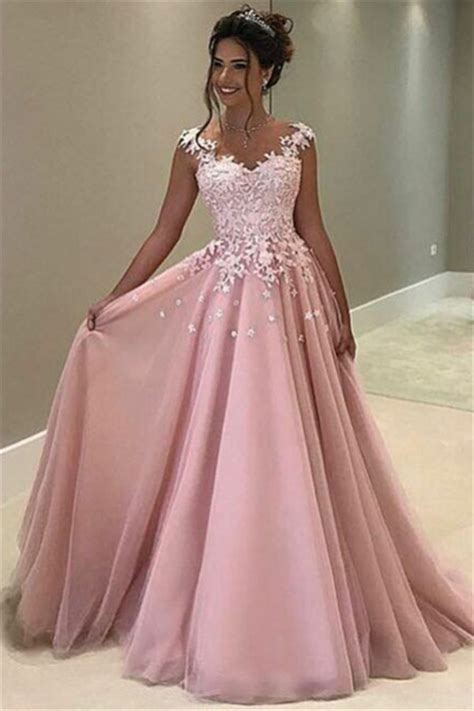 Flowers Appliques Pink Prom Dress 2019 Sleeveless Long