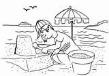 Coloring Sand Castle Seaside Boy Build Colornimbus sketch template