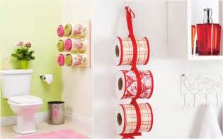 bathroom organizing ideas towel storage made of decoupaged tin cans