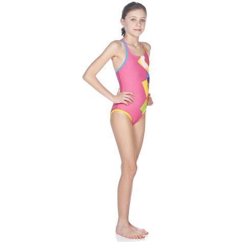 maedchen badeanzug patch mit innenfutter training swimwear