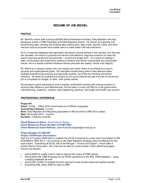 resume for data warehouse professional joe michel 2015april09 sql crm bi resume with references for all