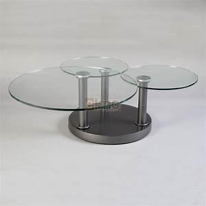 Table Basse En Verre Ronde : table basse ronde acier verre triple plateaux rose ~ Teatrodelosmanantiales.com Idées de Décoration