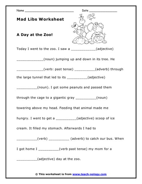 mad lib worksheet a day at the zoo