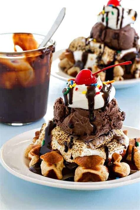 smores waffle sundaes  baking addiction
